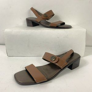 UNISA Brown Tan Leather Ankle Strap Sandals Sz 7.5